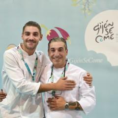 El chef Frank Pérez (Salazogue Bistronomie) tras finalizar su showcooking.
